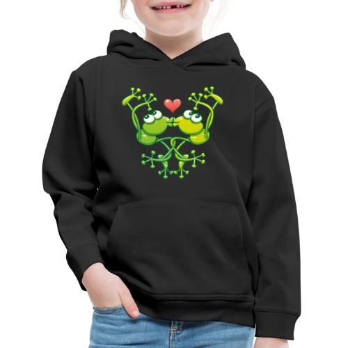 Frogs in love in choreography of jumps and kisses - Kids' Premium Hoodie