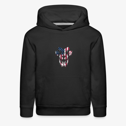 Lovely American Lion USA Flag Silhouette Portrait - Kids' Premium Hoodie