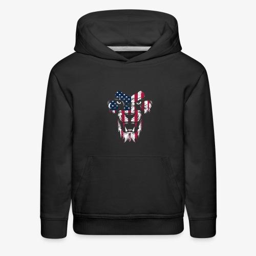 American Flag Lion - Kids' Premium Hoodie