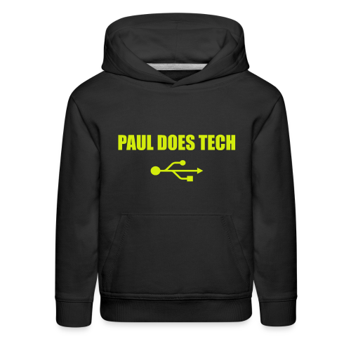 Paul Does Tech Yellow Logo With USB (MERCH) - Kids' Premium Hoodie