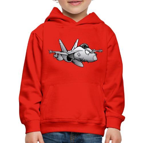 Military Fighter Attack Jet Airplane Cartoon - Kids' Premium Hoodie
