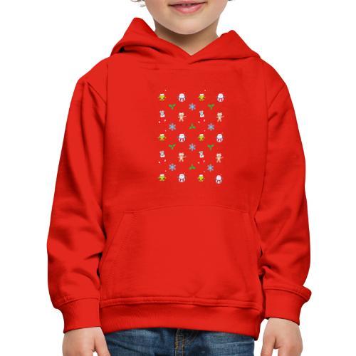 Teddy, mouse elf and snowman Christmas pattern - Kids' Premium Hoodie