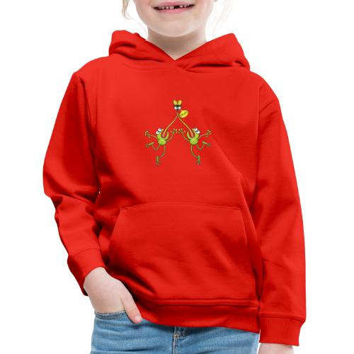 Two green frogs fighting to eat an unlucky fly - Kids' Premium Hoodie