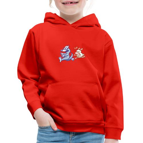 Funny sheep in love running after a terrified wolf - Kids' Premium Hoodie
