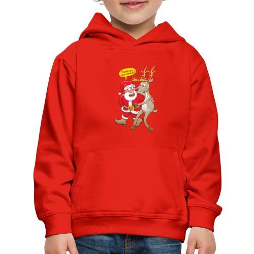 Santa Claus deeply thanks his red-nosed reindeer - Kids' Premium Hoodie