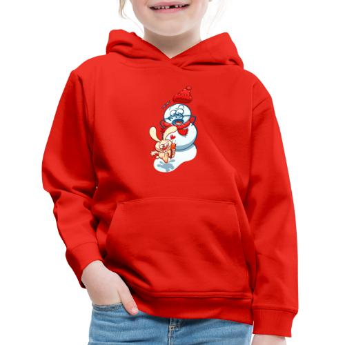Mischievous bunny stealing the snowman carrot nose - Kids' Premium Hoodie
