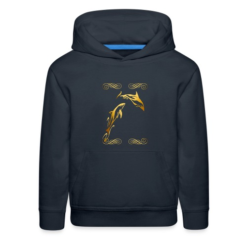 Two Gold Dolphins with frilly frames - Kids' Premium Hoodie