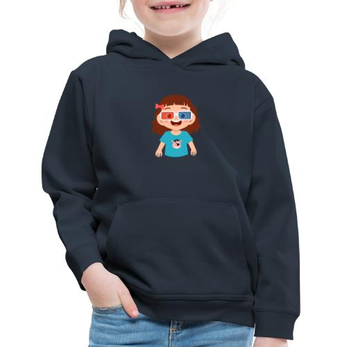 Girl red blue 3D glasses doing Vision Therapy - Kids' Premium Hoodie