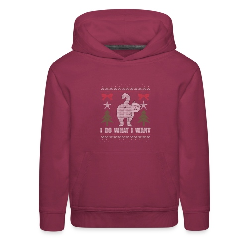 Ugly Christmas Sweater I Do What I Want Cat - Kids' Premium Hoodie