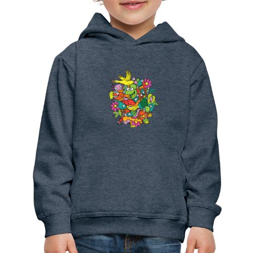 Amazing crowd of funny creatures living in a pond - Kids' Premium Hoodie