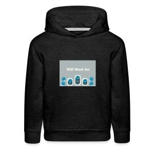 Will_work_for_buttons - Kids' Premium Hoodie