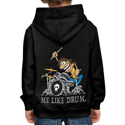 Me Like Drum. Wild Drummer Cartoon Illustration - Kids' Premium Hoodie