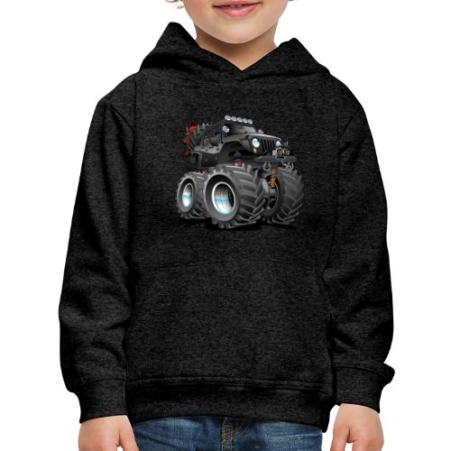 Off road 4x4 black jeeper cartoon - Kids' Premium Hoodie
