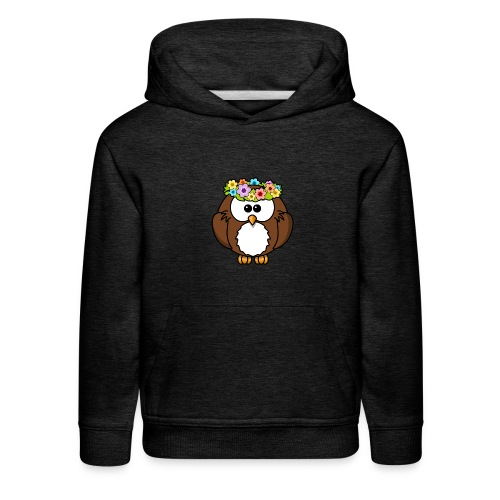 Owl With Flowers On Head T-Shirt - Kids' Premium Hoodie