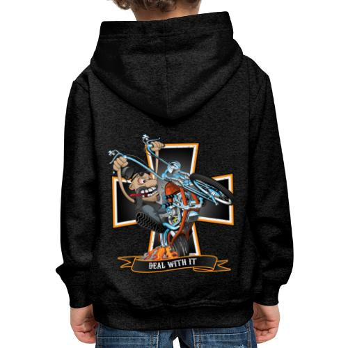 Deal with it - funny biker riding a chopper - Kids' Premium Hoodie