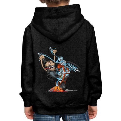 Funny biker riding a chopper cartoon - Kids' Premium Hoodie
