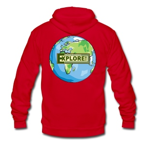 EXPLORE! Logo on the Earth - Unisex Fleece Zip Hoodie by American Apparel