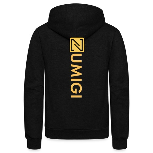 Black Jacket, Yellow Logo - Unisex Fleece Zip Hoodie