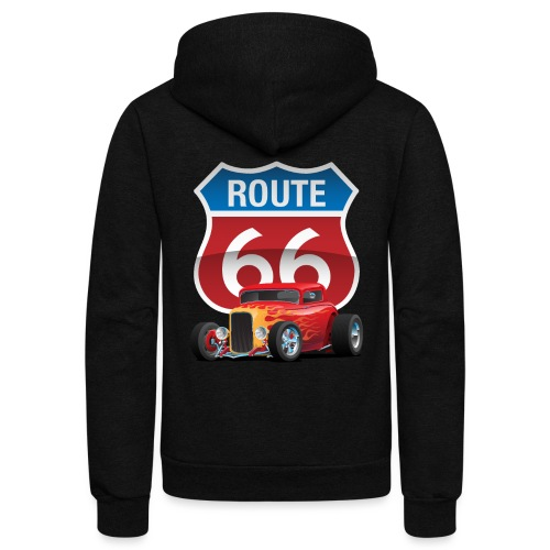 Route 66 Sign with Classic American Red Hotrod - Unisex Fleece Zip Hoodie