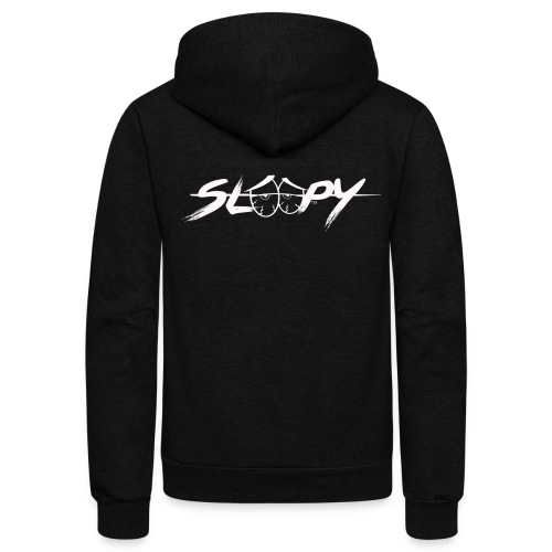 Sleepy Logo White - Unisex Fleece Zip Hoodie