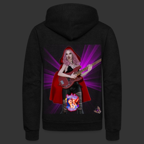 Happily Ever Undead: Blood Red Hood Bassist - Unisex Fleece Zip Hoodie