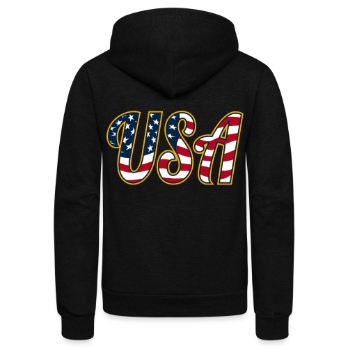 USA Patriotic Red White and Blue Stars and Stripes - Unisex Fleece Zip Hoodie