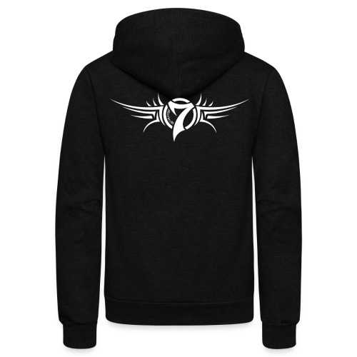 MayheM-7 Tattoo Logo White - Unisex Fleece Zip Hoodie