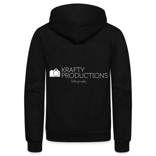 White Krafty Productions Logo - Unisex Fleece Zip Hoodie