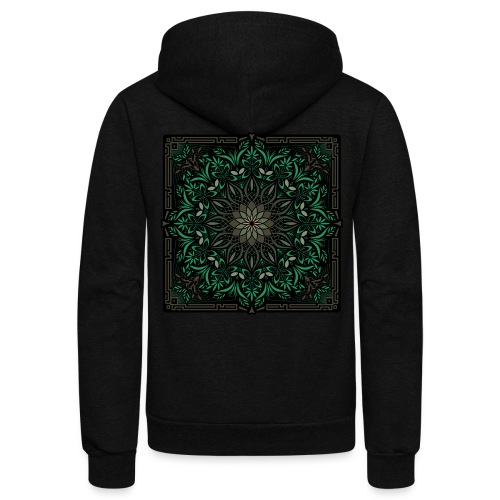 Psychedelic Mandala Geometric Illustration - Unisex Fleece Zip Hoodie