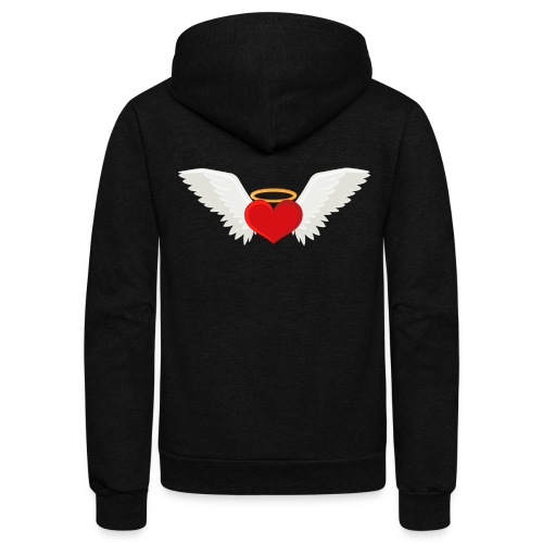 Winged heart - Angel wings - Guardian Angel - Unisex Fleece Zip Hoodie