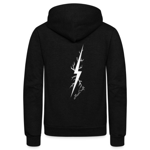 Full Zip Hoodie (White Lightning Bolt) NEW ITEM - Unisex Fleece Zip Hoodie