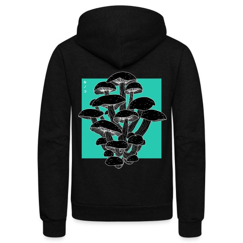 shrooms blu edited 1 - Unisex Fleece Zip Hoodie