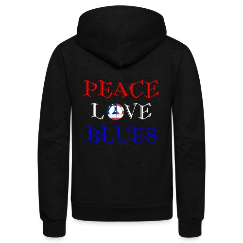 Peace, Love and Blues - Unisex Fleece Zip Hoodie