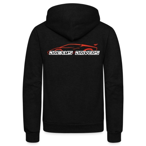 Dreams and Drivers Full Logo White Text - Unisex Fleece Zip Hoodie