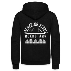 Recording Studio Rockstars - White Logo - Unisex Fleece Zip Hoodie by American Apparel