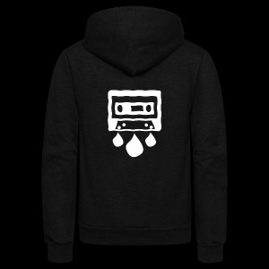 CASSETTE WHITE - Unisex Fleece Zip Hoodie by American Apparel
