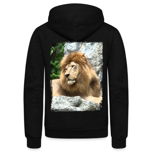 Lion On Rocks - Unisex Fleece Zip Hoodie