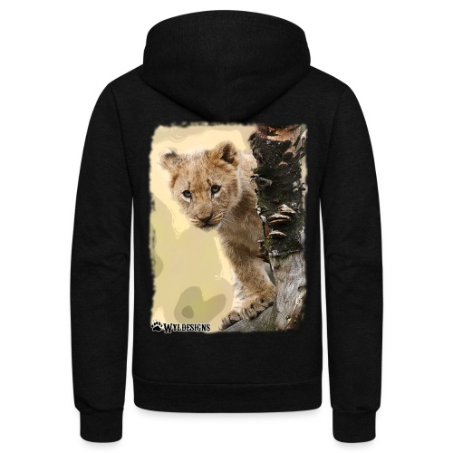 Lion Cub Peeking - Unisex Fleece Zip Hoodie