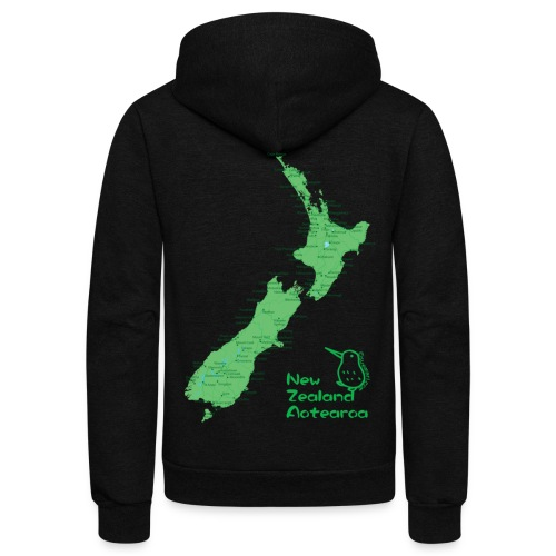 New Zealand's Map - Unisex Fleece Zip Hoodie