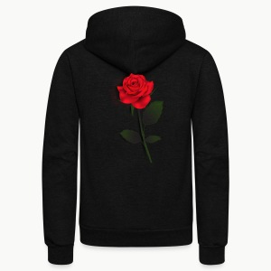 Rose Stem (Black) - Unisex Fleece Zip Hoodie by American Apparel