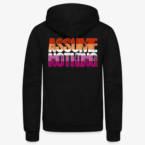 Assume Nothing Lesbian Pride - Unisex Fleece Zip Hoodie