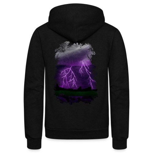 Purple Lightning Scene - Unisex Fleece Zip Hoodie