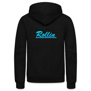 Rollin Logo Blue - Unisex Fleece Zip Hoodie by American Apparel