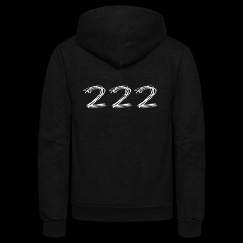 222 Chalk Style Pocket Logo - Unisex Fleece Zip Hoodie