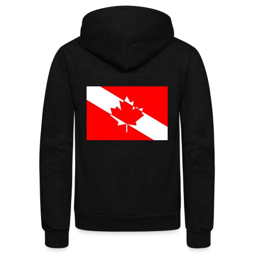 Canadian Diver Flag in Red & White - Unisex Fleece Zip Hoodie