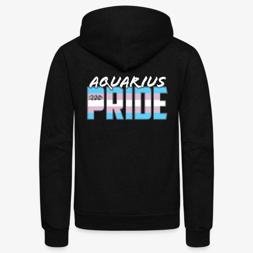 Aquarius Transgender Pride Flag Zodiac Sign - Unisex Fleece Zip Hoodie