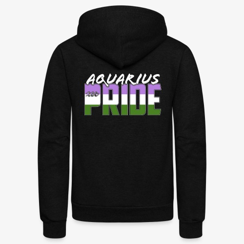 Aquarius Genderqueer Pride Flag Zodiac Sign - Unisex Fleece Zip Hoodie