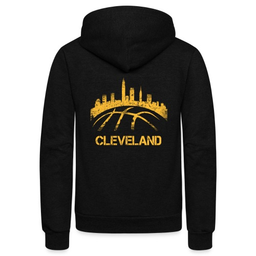 Cleveland Basketball Skyline - Unisex Fleece Zip Hoodie