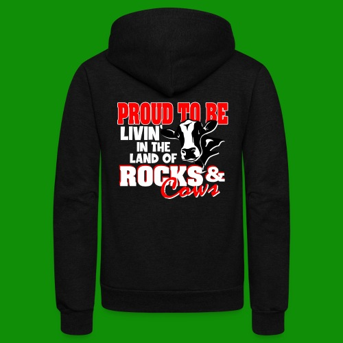 Livin' in the Land of Rocks & Cows - Unisex Fleece Zip Hoodie