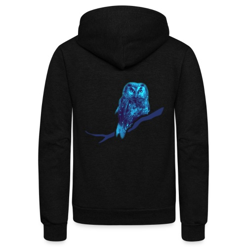 owl bird fowl blue - Unisex Fleece Zip Hoodie